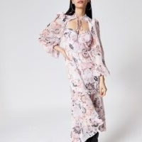 River Island Pink printed frill tie neck midi dress – cut out sweetheart neckline dresses – romantic look fashion
