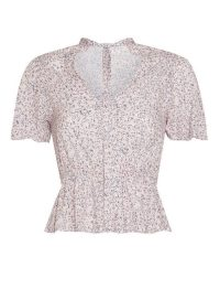 MISS SELFRIDGE Pink Sheer High Neck Angel Sleeve Tea Top
