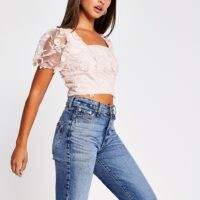 River Island Pink short sleeve 3D mesh floral crop top | sheer puffed sleeves