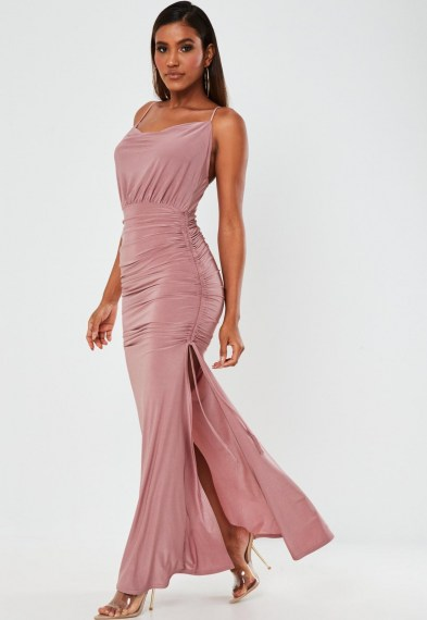 Missguided pink slinky ruched cowl neck maxi dress ~ long side slit evening dresses