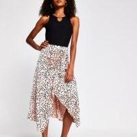 River Island Pink spot print frill wrap midi skirt | asymmetric polka dot skirts