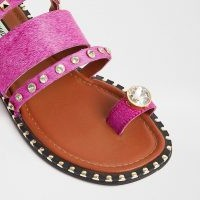 RIVER ISLAND Pink toe loop gem sandal / stud and crystal flats