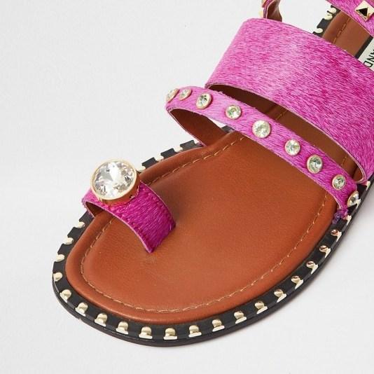 RIVER ISLAND Pink toe loop gem sandal / stud and crystal flats - flipped