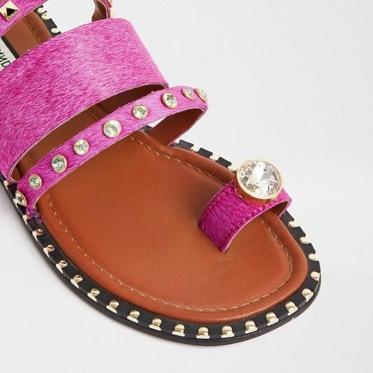 RIVER ISLAND Pink toe loop gem sandal / stud and crystal flats