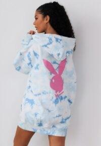 playboy x missguided blue tie dye bunny back hoodie dress / logo dresses / bunnies / oversized hoodies
