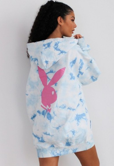 playboy x missguided blue tie dye bunny back hoodie dress / logo dresses / bunnies / oversized hoodies - flipped