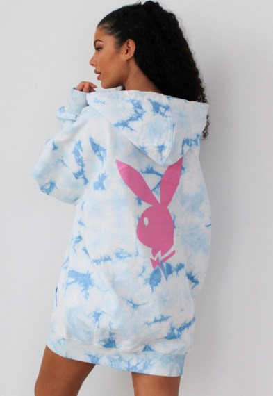 playboy x missguided blue tie dye bunny back hoodie dress / logo dresses / bunnies / oversized hoodies