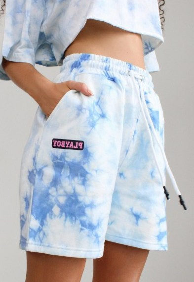 playboy x missguided blue tie dye elasticated shorts / logo prints - flipped