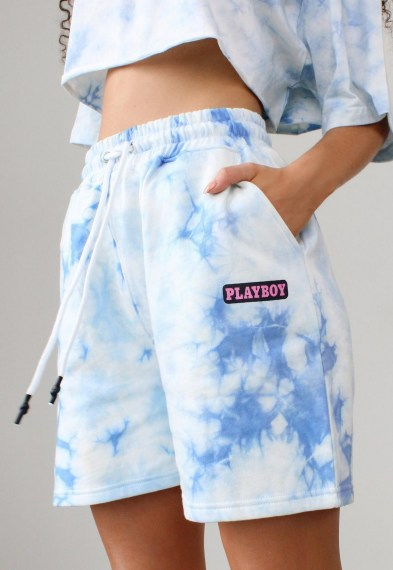 playboy x missguided blue tie dye elasticated shorts / logo prints