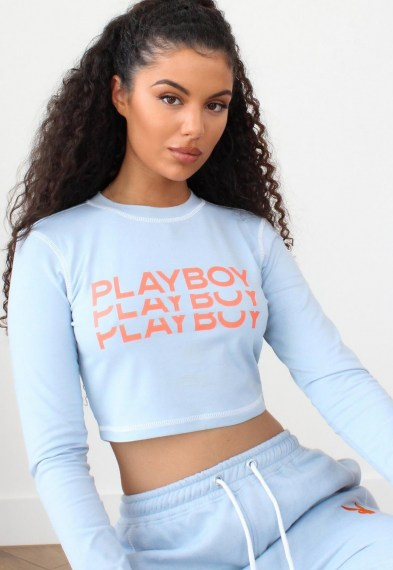 playboy x missguided blue triple logo contrast stitch crop top / casual cropped hem tops
