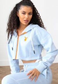 playboy x missguided blue zip through contrast stitch cropped hoodie / crop hem hoddies / bunny print top / bunnies