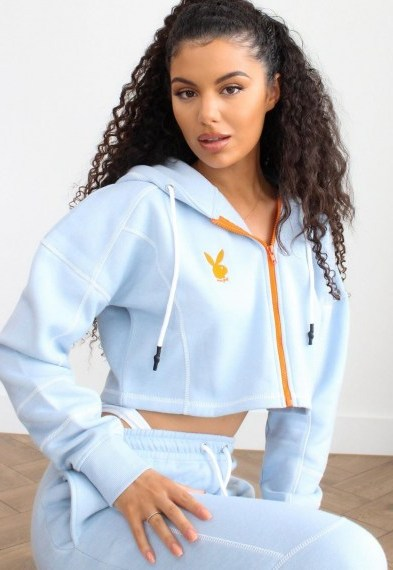 playboy x missguided blue zip through contrast stitch cropped hoodie / crop hem hoddies / bunny print top / bunnies - flipped