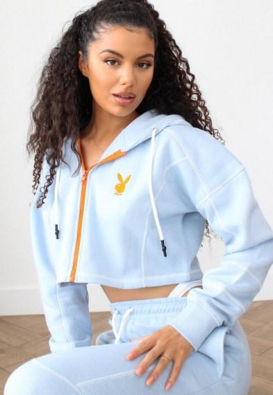 playboy x missguided blue zip through contrast stitch cropped hoodie / crop hem hoddies / bunny print top / bunnies