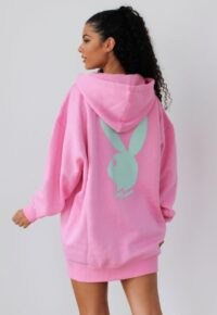 playboy x missguided pink bunny back hoodie dress / bunnies / logo print casual wear