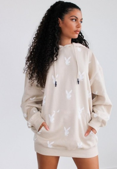 playboy x missguided stone repeat bunny hoodie dress / printed bunnies - flipped