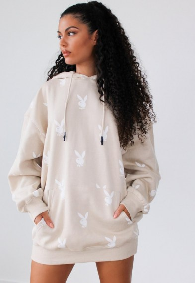 playboy x missguided stone repeat bunny hoodie dress / printed bunnies