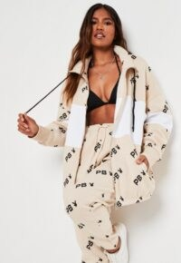 playboy x missguided stone repeat print colourblock zip through sweatshirt / longline sweat tops