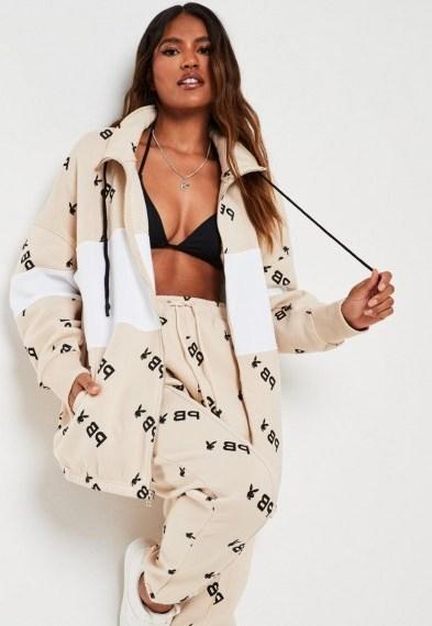 playboy x missguided stone repeat print colourblock zip through sweatshirt / longline sweat tops - flipped