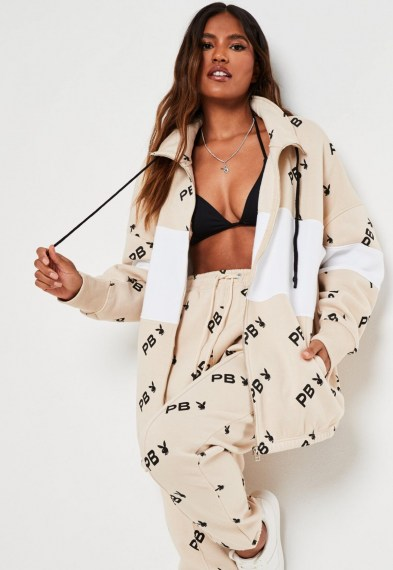 playboy x missguided stone repeat print colourblock zip through sweatshirt / longline sweat tops