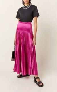 Christopher Kane Pleated Jersey Midi Skirt in Purple ~ luxurious fluid skirts