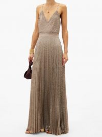 MISSONI Pleated metallic-jersey cami dress ~ thin strap evening maxi