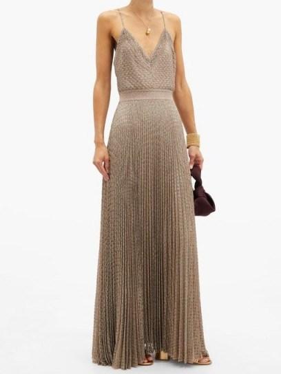 MISSONI Pleated metallic-jersey cami dress ~ thin strap evening maxi - flipped