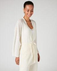 JIGSAW PLISSE KIMONO CARDIGAN Ivory / effortlessly elegant knitwear / lightweight waist tie cardigans
