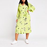 RIVER ISLAND Plus lime long sleeve printed midi dress