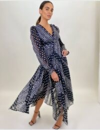 FORVER UNIQUE Polka Dot & Panel Contrast Handkerchief Maxi Dress