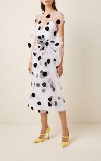 Carolina Herrera Polka-Dot Bow-Embellished Tulle Midi Dress / feminine event wear