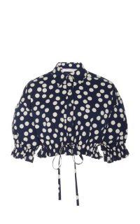 Carolina Herrera Polka-Dot Cropped Cotton Top / navy-blue crop tops