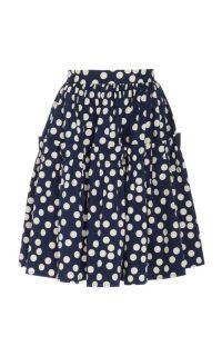 Carolina Herrera Polka-Dot Print Ruffled Cotton Skirt / navy-blue ruffled skirts