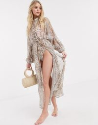 Power 2 The Flower tie front beach kimono in leopard print / sheer floaty kimonos / pool side glamour