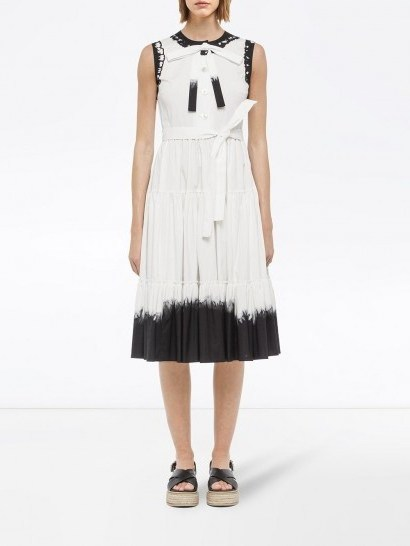 Prada dip-dye midi dress / white and black sleeveless dresses - flipped