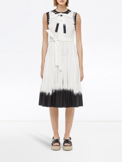 Prada dip-dye midi dress / white and black sleeveless dresses