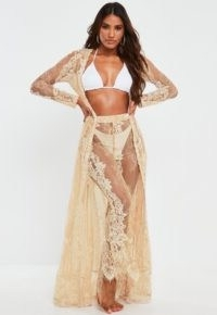 MISSGUIDED premium nude eyelash lace maxi beach kimono ~ sheer beachwear ~ pool side fashion