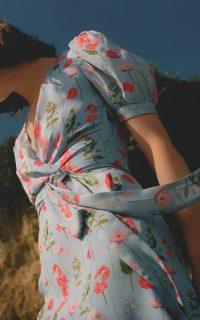 Carolina Herrera Printed Silk Wrap Dress / blue puff sleeve summer dresses