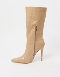 Public Desire Estelle pull on boots in bone croc / neutral stiletto heel boot