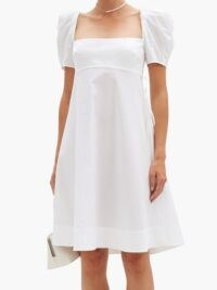 BROCK COLLECTION Puffed-sleeve cotton-blend poplin dress | simple white empire line dresses