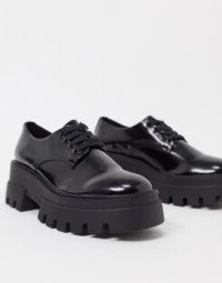 Pull&Bear chunky patent brogue in black | thick textured sole brogues