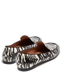 AQUAZZURA Purist black and white tiger-print elaphe loafers