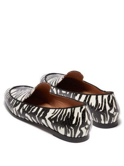 AQUAZZURA Purist black and white tiger-print elaphe loafers - flipped