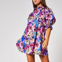 River Island Purple floral pleated mini shirt dress