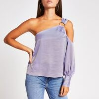 River Island Purple one shoulder buckle top – luxury look summer tops