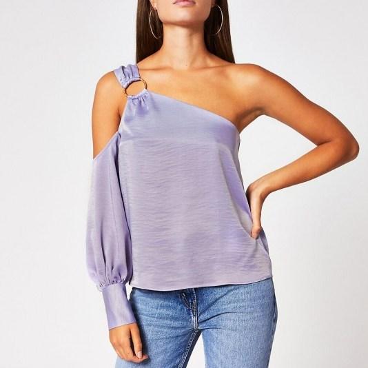 River Island Purple one shoulder buckle top – luxury look summer tops - flipped