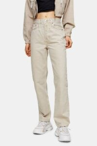 Topshop Putty Dad Straight Leg Jeans | neutral denim