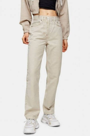 Topshop Putty Dad Straight Leg Jeans   neutral denim - flipped