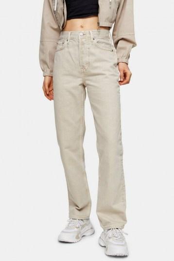 Topshop Putty Dad Straight Leg Jeans   neutral denim