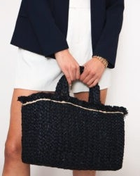 JIGSAW RAFFIA STRAW RECTANGULAR BAG Black / summer tote