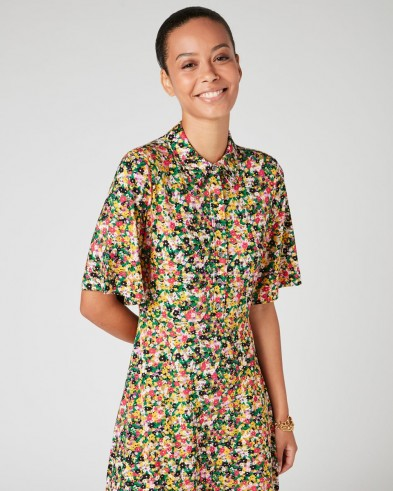 JIGSAW RAINBOW DITSY SHIRT DRESS / floral day dresses